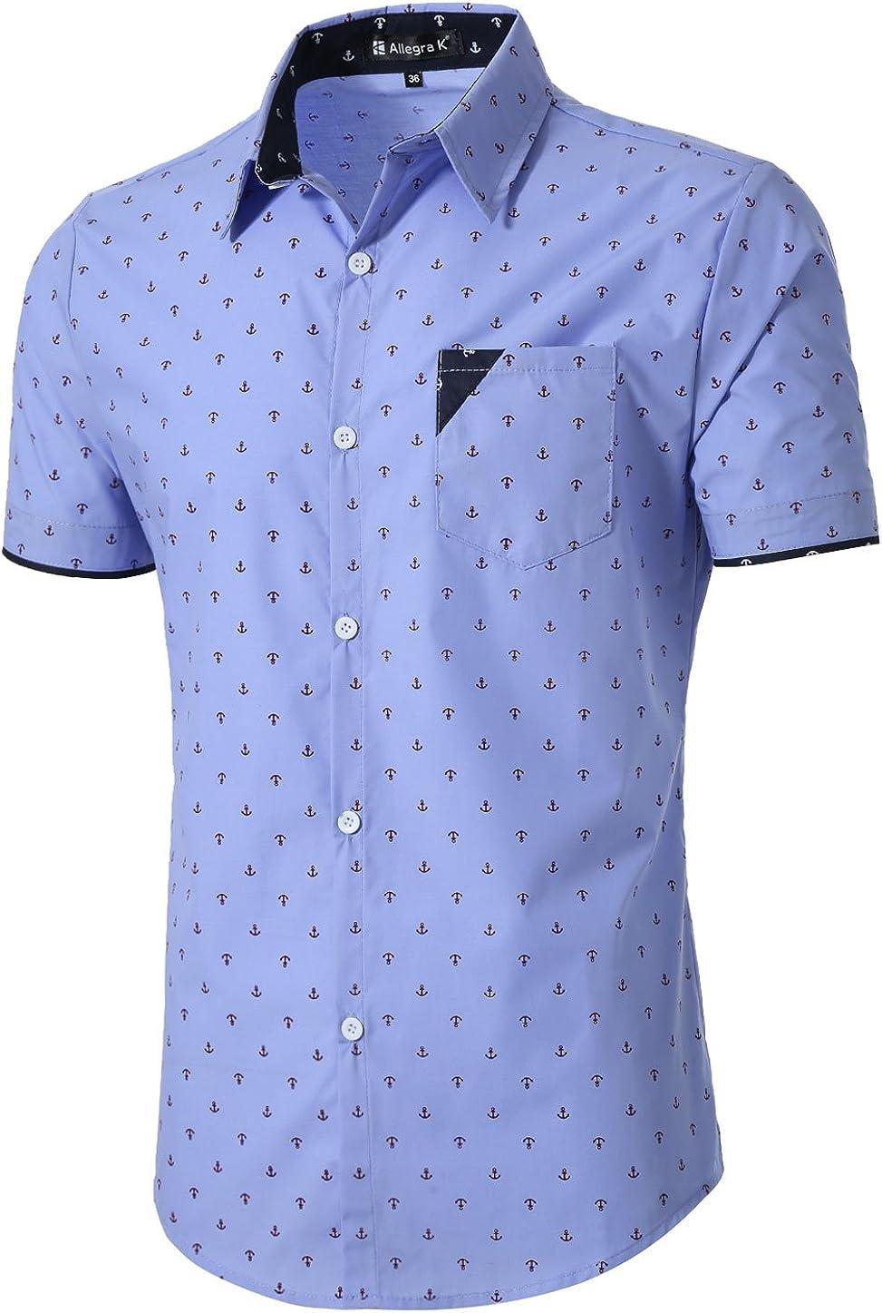 uxcell Men Point Collar Button Down Short Sleeve Anchor Pattern Casual Collar Contrast Shirt