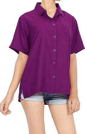 LA LEELA las Mujeres Regular fit rayón sólido Blando Camiseta de Manga Corta Camisa Violeta Ocasional L: Amazon.es: Ropa y accesorios