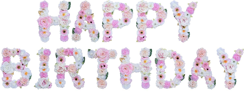 ZHENHAN 人工オーナメント 花柄 文字/数字 ピンクテーマ 7.87x5.51x1.10インチ 玄関ドアや壁に掛けられる ホームデコレーション ベビーシャワー 記念日 誕生日 ベビールームに Combinations ピンク B07N83ZBPP Happy Birthday Combinations