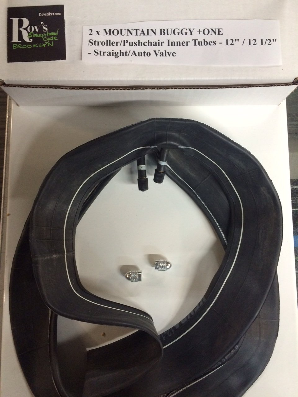 2 (Two) X Mountain Buggy + One Stroller/pushchair Inner Tube 12'/ 12 1/2 Straight Valve free Upgraded Valve Caps $4.99 Value Roys Sheepshead Cycle