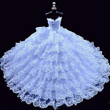 Amazon.com: FJTANG 8 Layer White Barbie Wedding Dress For 27-29 cm ...