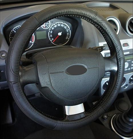 Ricambi Auto Europa - Funda de volante de piel auténtica negra para coche, excelente calidad, universal, antideslizante, diámetro 37 - 39 cm y 1 adhesivo de ...