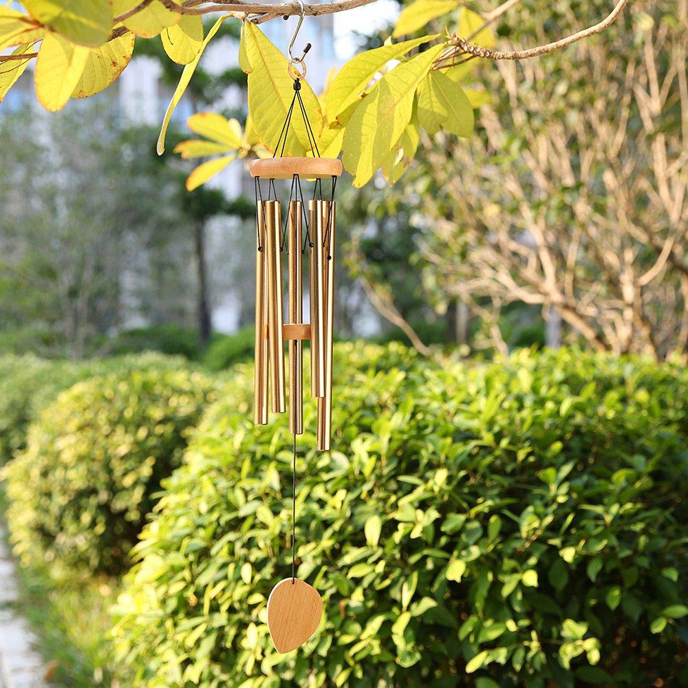 Campana Colgante con 5 tubos de Aluminio Carrill/ón de Viento Cozzine Campana para Jard/ín al Aire Libre y Decoraci/ón del Hogar