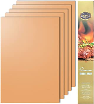 Aoocan Copper Grill Mat Set of 3 - Grill Mats Non-Stick ,BBQ Grill & Baking Mats - Works on Gas, Charcoal, Electric Grill