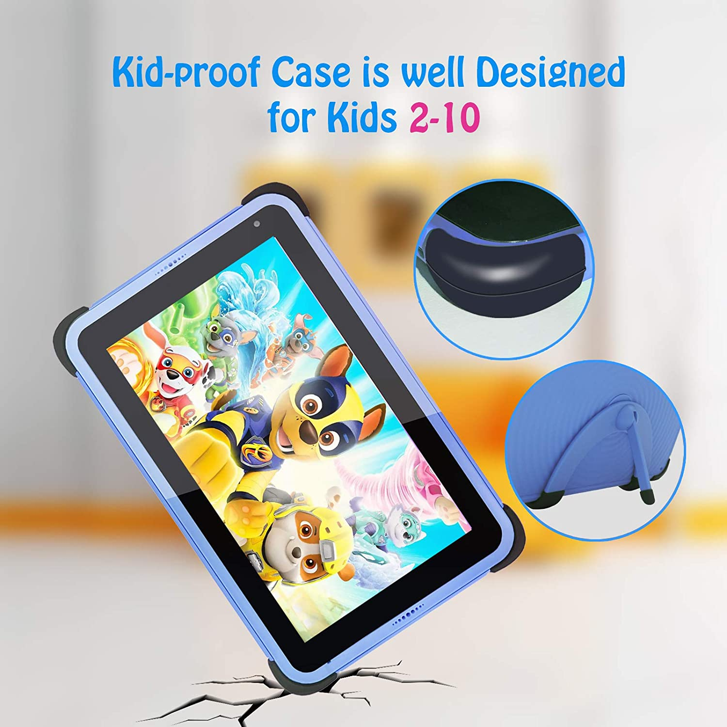 Kids Tablet 7 Inch WiFi Android Tablet 2021 Parental Control, Kid-Proof Case with Stand
