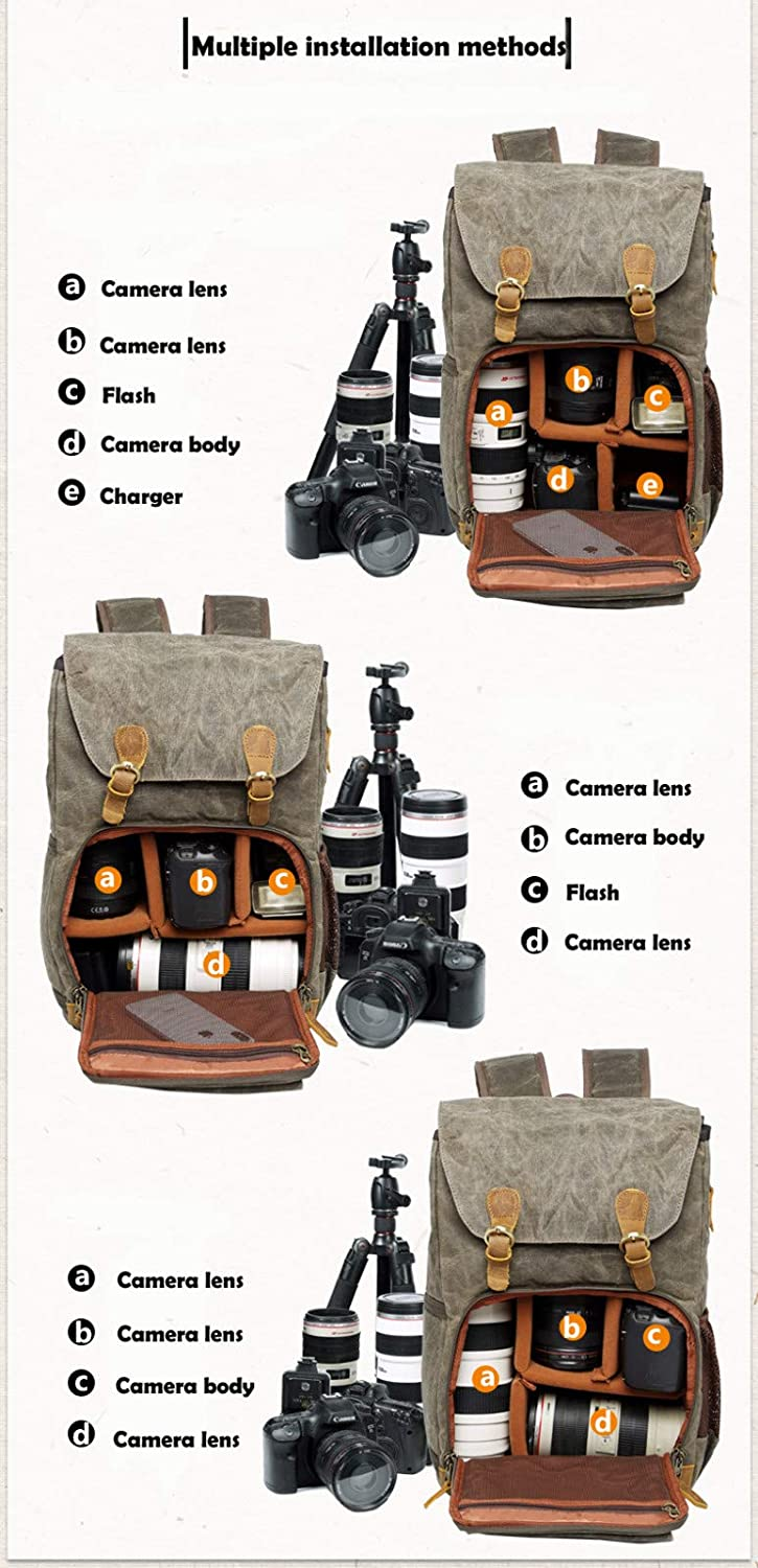 Samoii Camera Bag Backpack Army Green Premium Vintage Photography Backpack Waterproof Photography Canvas Bag AG