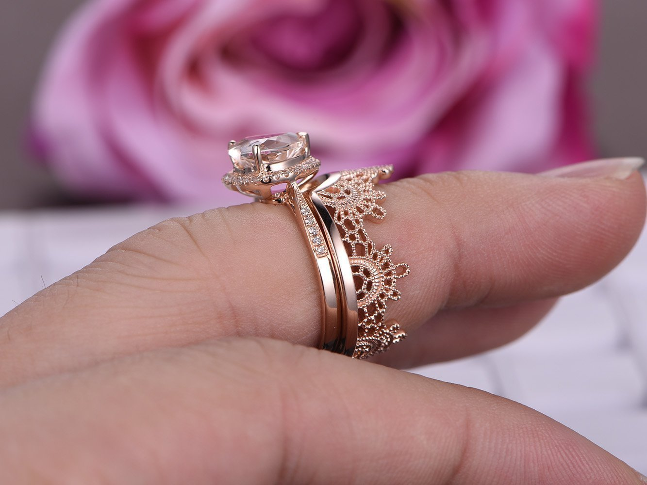 Amazon.com: Heart Morganite Engagement Ring Bridal Set Tiara Ring ...