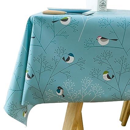 LOHASCASA 4ft Vinyl Tablecloth Square Oilcloth Plastic Wipeable Heavy Duty  Waterproof Tablecloths Banquet,Camping Aqua