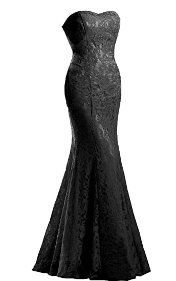 ba33e57a231 JinXuanYa Women s Lace Wedding Dress Mermaid Evening Dress Free Send Belt  (Black ...