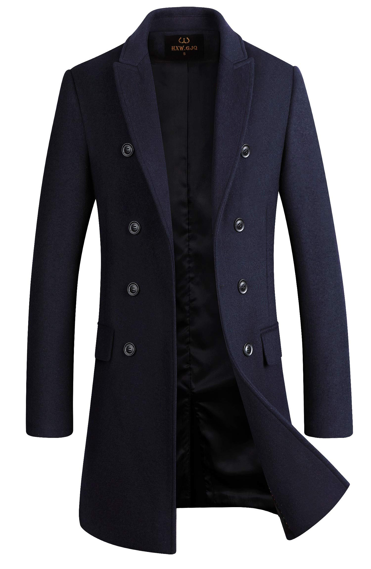 Men's Premium Wool Blend Double Breasted Long Pea Coat (Navy Blue, XX-Large) by HXW.GJQ