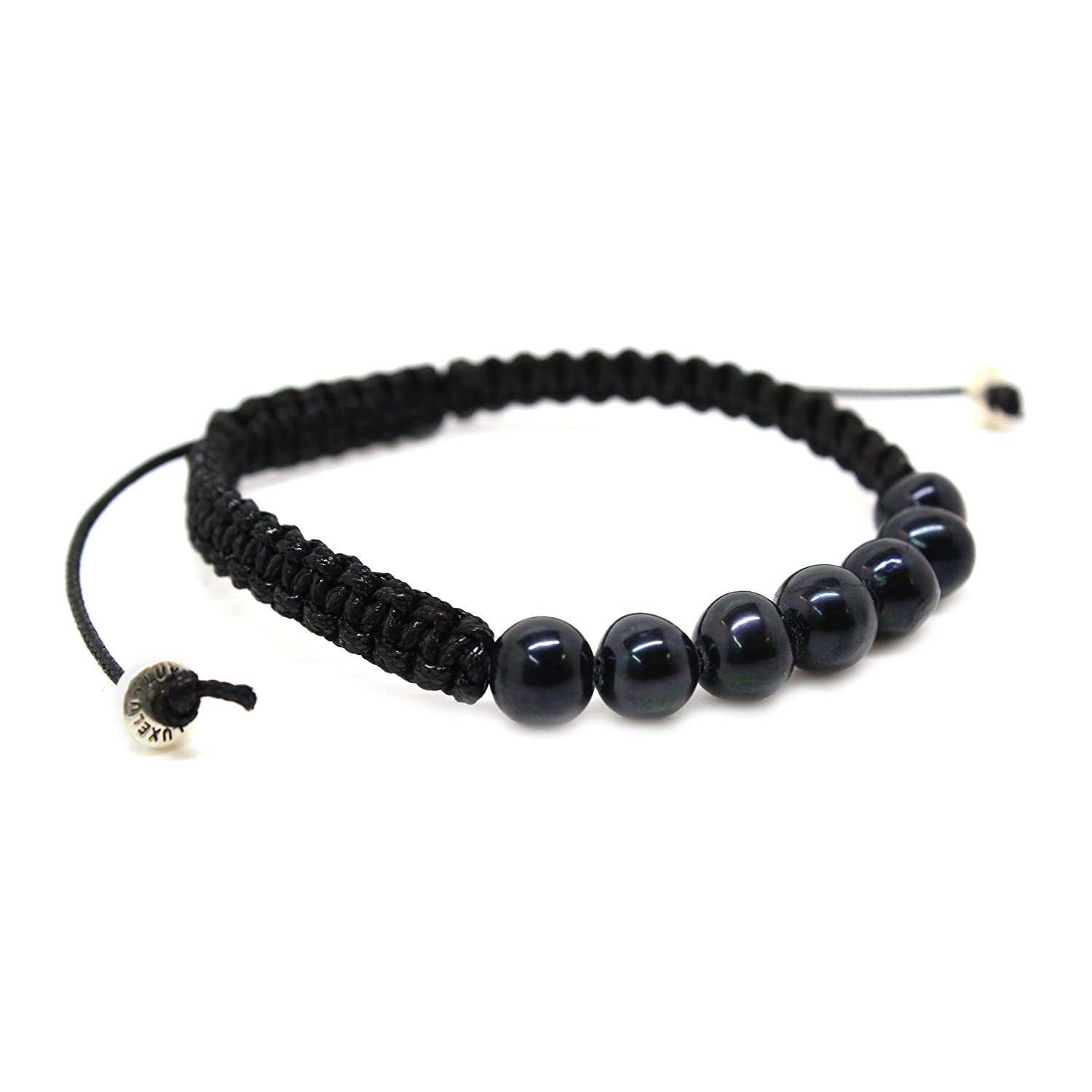 ccc77e5db Mens Bracelet - Black Pearl Beads, Black Macrame Rope and Sterling Silver -  Luxelu London Black Pearl Collection (Medium/Large): Luxelu: Amazon.co.uk:  ...