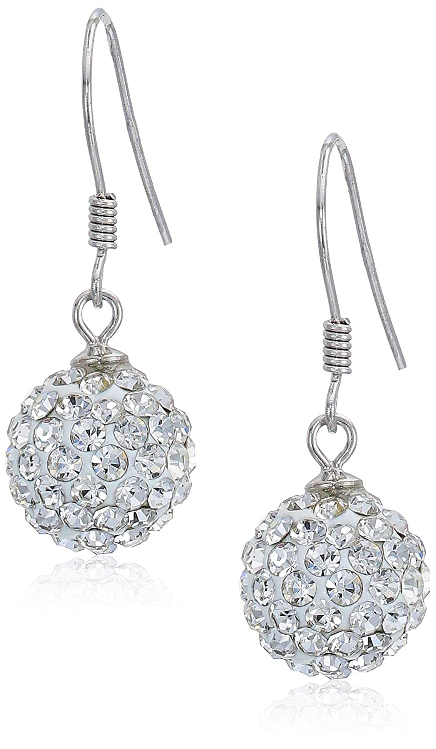 00f2af8c180cf Woman Disco Ball White Crystals from Swarovski Stud Dangle Hook Earrings  Pendant Necklace Set for Women and Girls
