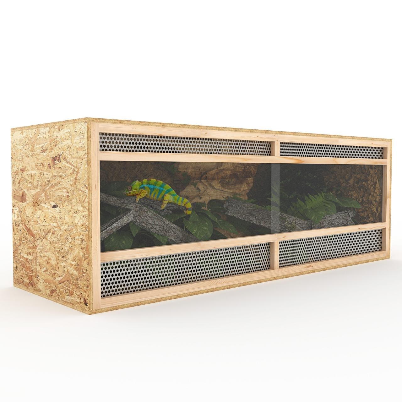 Terrarium aus Holz 148 cm breit aus OSB Platten Holzterrarium mit Seitenbelüftung Happypet