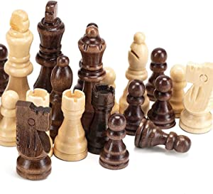 """AMEROUS Magnetic Wooden Chess Pieces, Tournament Staunton Wood Chessmen Pieces Only, 3.03"""" King Figures Chess Game Pawns Figurine Pieces with 2 Storage Bags, Replacement of Missing Pieces"""