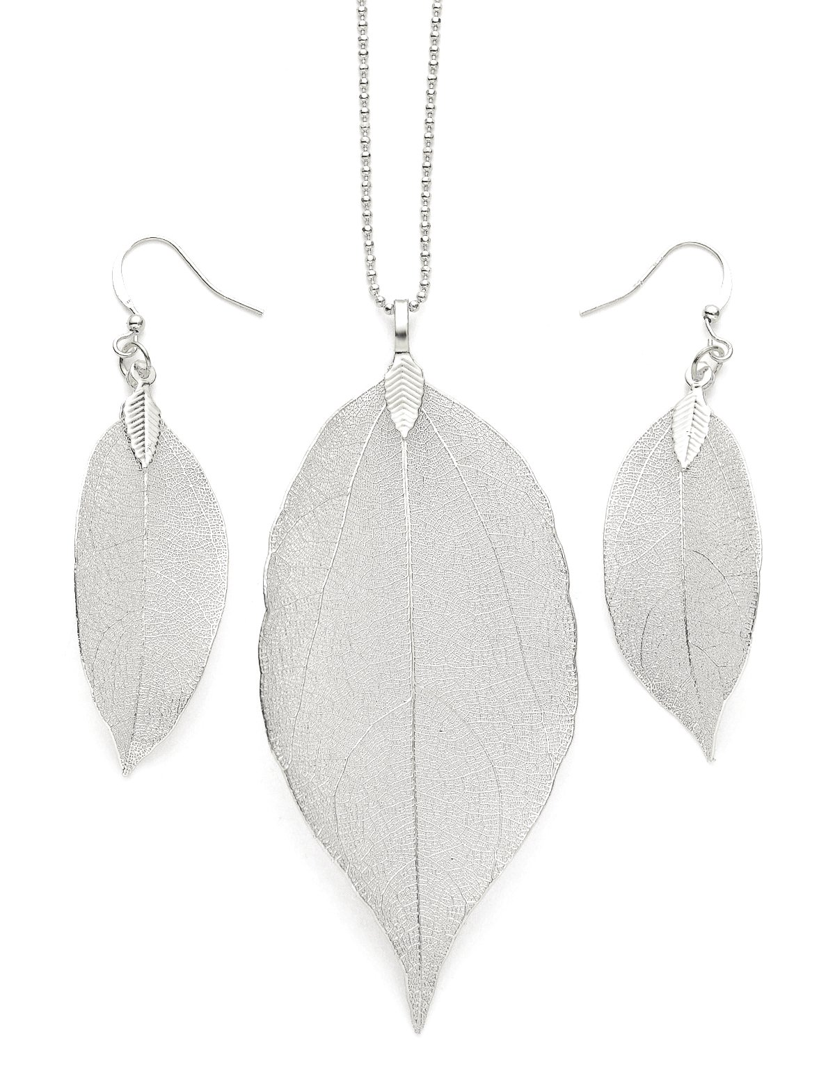 Cloris Tautou Jewelry Necklace Women Long Chain For Pendant Necklace Silver White Gold Pure Natural Leaf Bohemian Boho Necklace Fashion Gifts Birthday Gifts for Women for Her