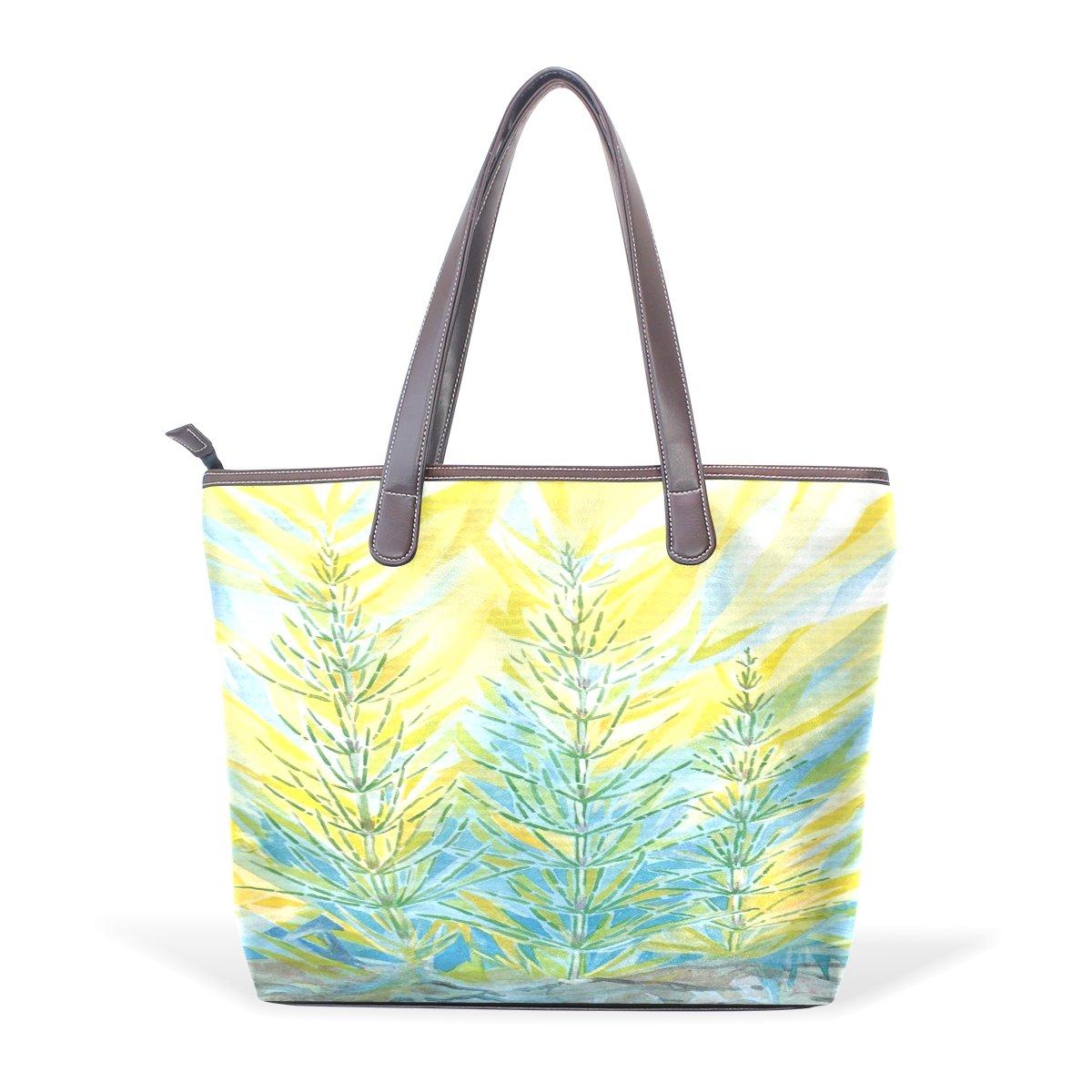 Mr.Weng Household Watercolor Weeds Lady Handbag Tote Bag Zipper Shoulder Bag