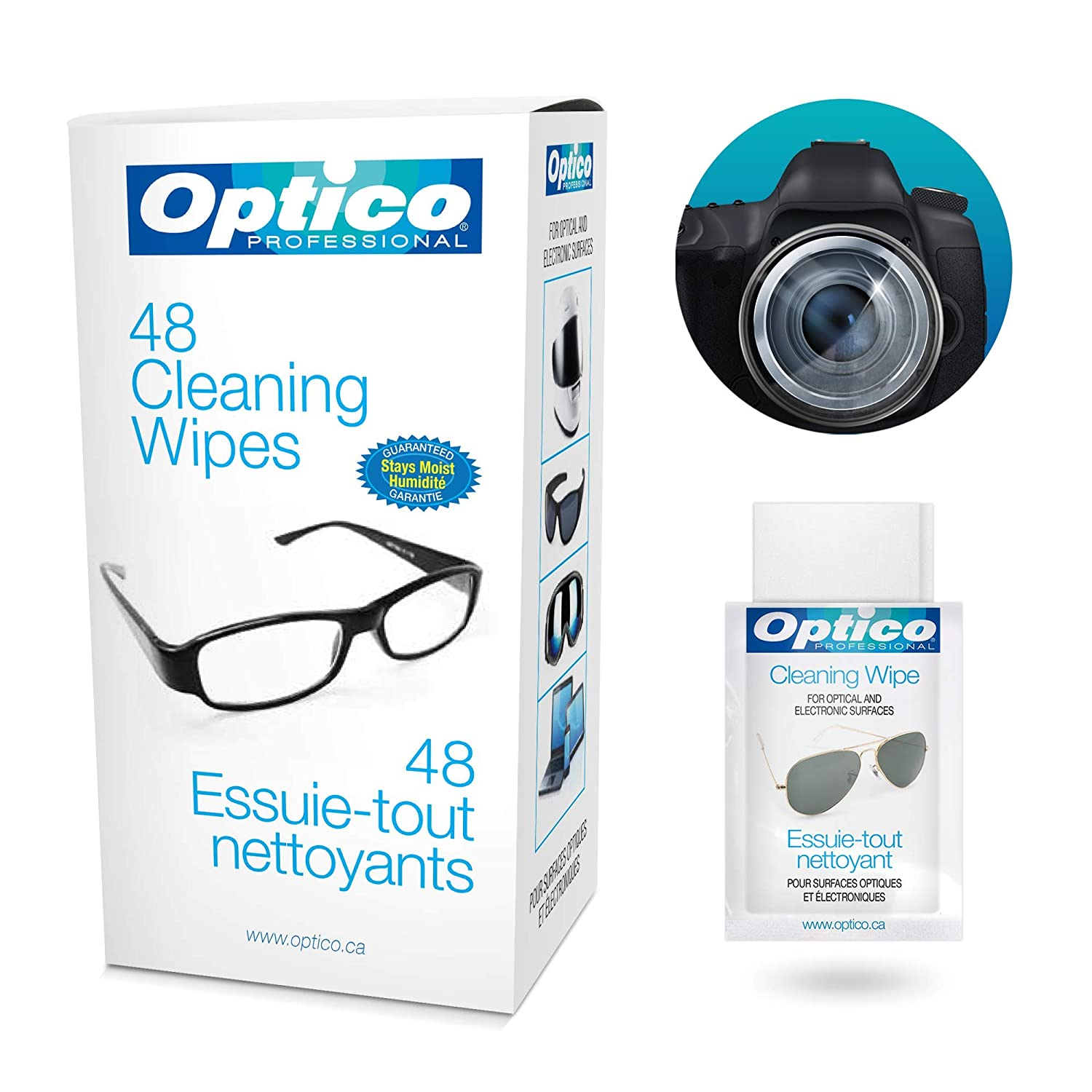 Optico Professional Pre-Moistened Optical Cleaning wipes ( each wipe 9cm x  13cm - 1 ml fill ) Gently Clean Glasses, Lenses, Sunglasses, Reading