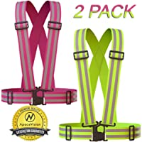 (Yellow and Pink) - Reflective Vest (2 Pack) Lightweight, Adjustable & Elastic Safety & High Visibility for Running, Jogging, Walking, Cycling Fits over Outdoor Clothing - Motorcycle Jacket / Gear