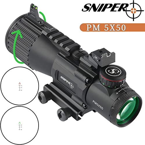 Sniper PM5x50CB Compact Prism Scope CQB with Red/Green Illuminated Reticle Rifle Scope fit 5.56/.223/.308