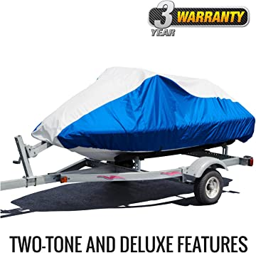 Blue//Gray BA231213012 Budge Deluxe Jet Ski Cover Fits Jet Skis 106 to 115 Long