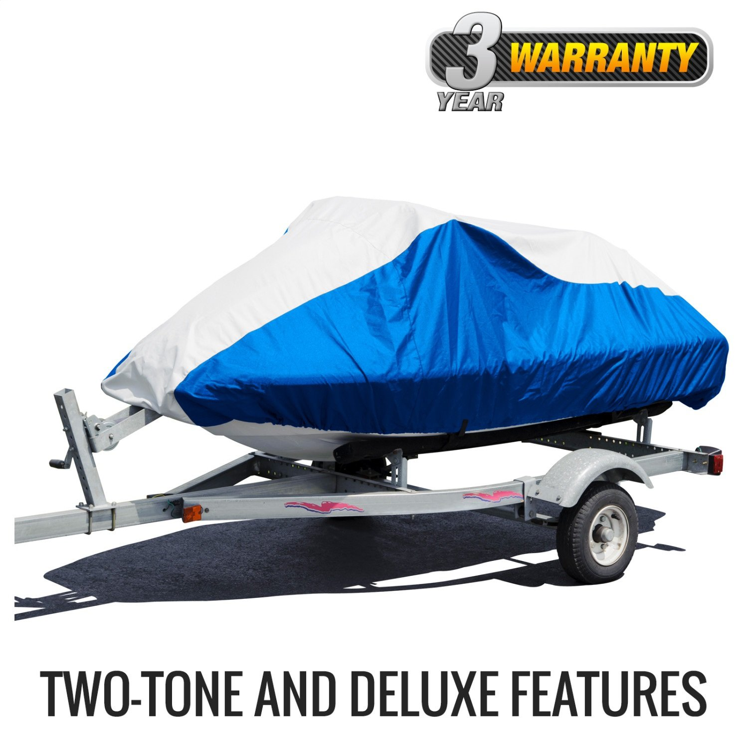 Budge Deluxe Jet Ski Cover Fits Jet Skis 121'' to 135'' Long, Blue/Gray