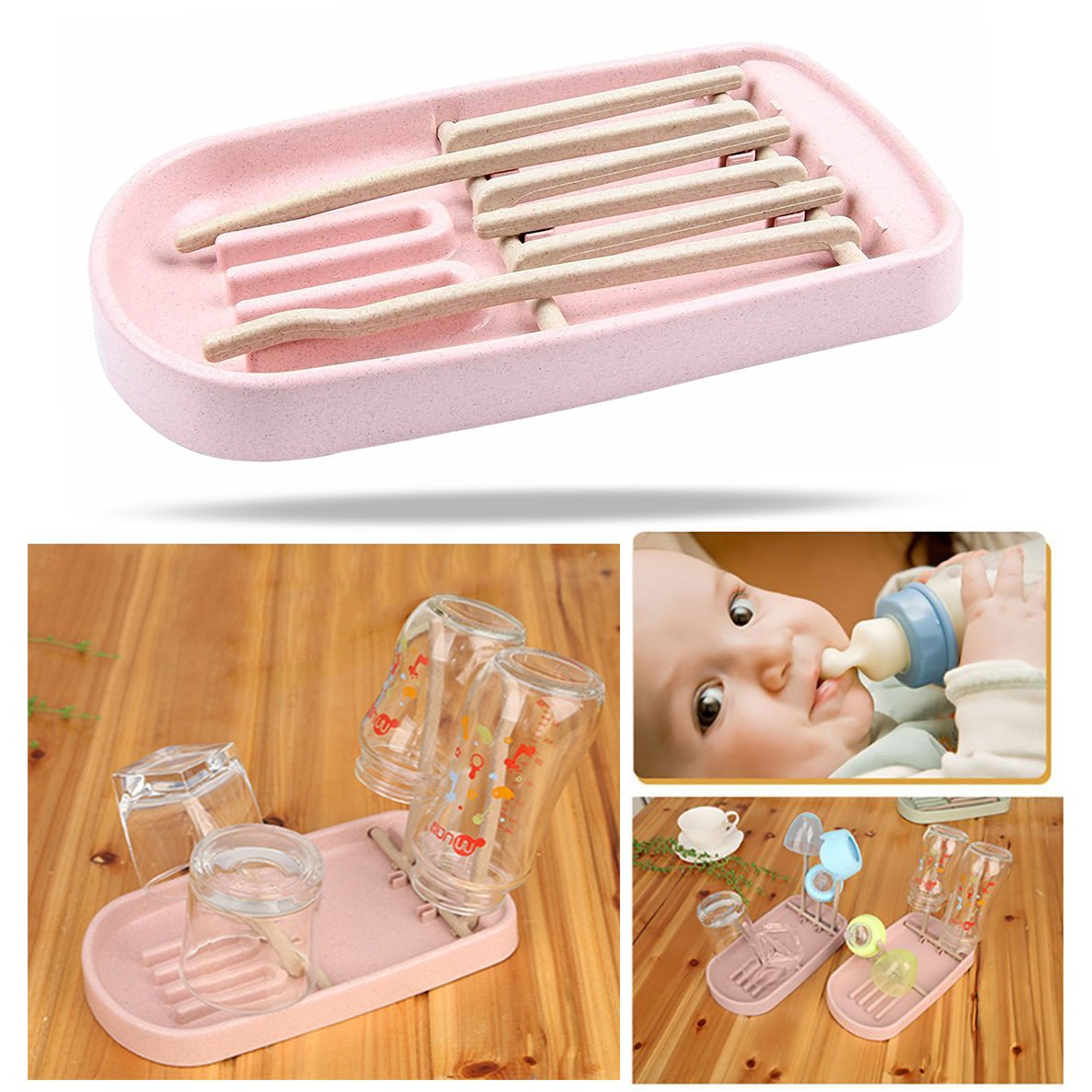 OFKPO Baby Bottle Drying Rack Dry Holder for Toddler Infant Sippy Cups Nipples Bottle Pacifier