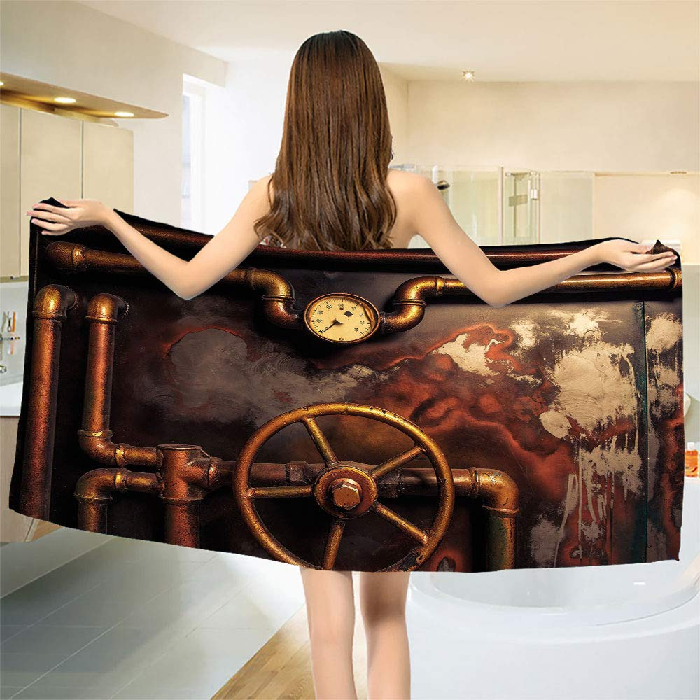 smallbeefly Industrial Bath Towel Steam Pipes and Pressure Gauger Vintage Style Damaged Timeworn Engine Bathroom Towels Bronze Dark Orange Size: W 27.5'' x L 72''