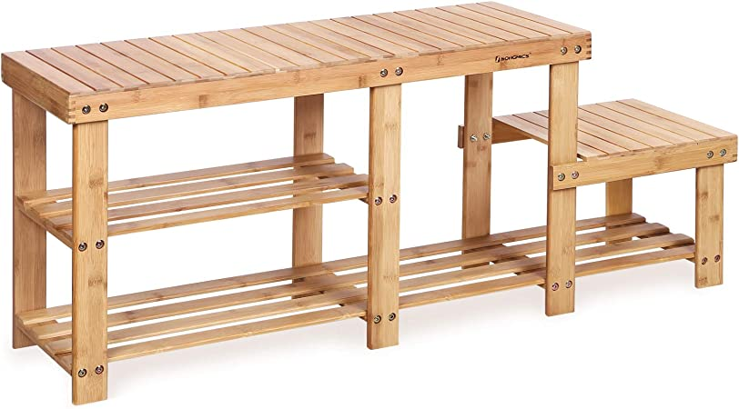 Songmics Bamboo Shoe Bench Entryway Storage Rack With High And Low Levels For Adult And Child Ulbs120n Home Kitchen