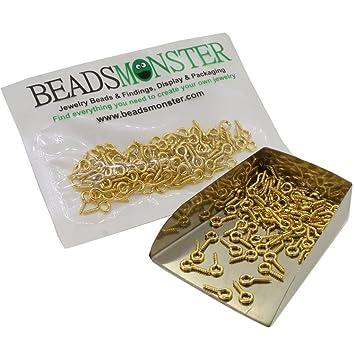 Pcs Findings DIY Jewellery Making Screw Eye Pin Peg Bails Gold Iron 4x8mm  100