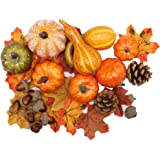 winemana Thanksgiving Artificial Pumpkins Home Decoration Set, Mixture of 50 Artificial Harvest Decoration, 30 Fake…