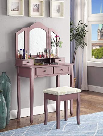 Roundhill Furniture Sanlo Wooden Vanity, Make Up Table and Stool Set, Pink