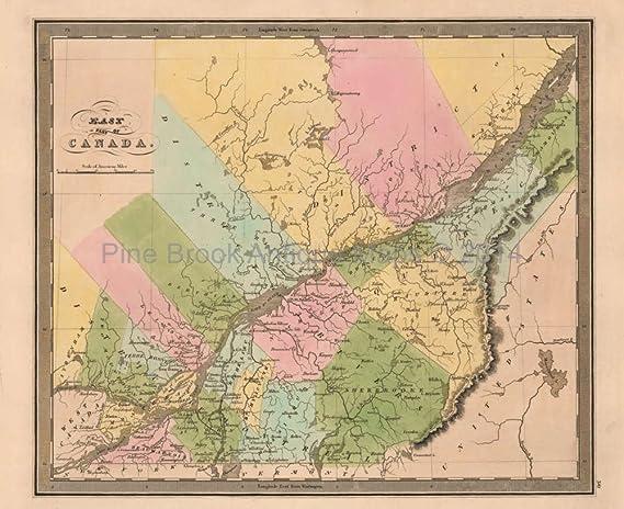 East Canada Antique Map Greenleaf 1844 Original Canadian Decor