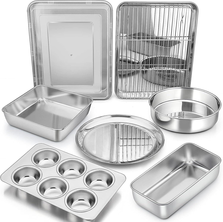 Bakeware Sets, P&P CHEF 9-Piece Stainless Steel Baking Pans Set, Round /Square Cake Pan, Toaster Oven Pan, Lasagna Pan, Loaf Pan, Pizza Pan, Muffin Pan, Dishwasher Safe & Durable, Healthy & Non-toxic