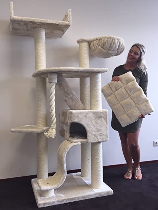 Rascador para gatos grandes Kilimandjaro de Luxe Crema baratos arbol xxl maine coon gato gigante sisal muebles sofa casa escalador casita torre Árboles rascadores cama cueva repuesto medianos: Amazon.es: Productos para mascotas