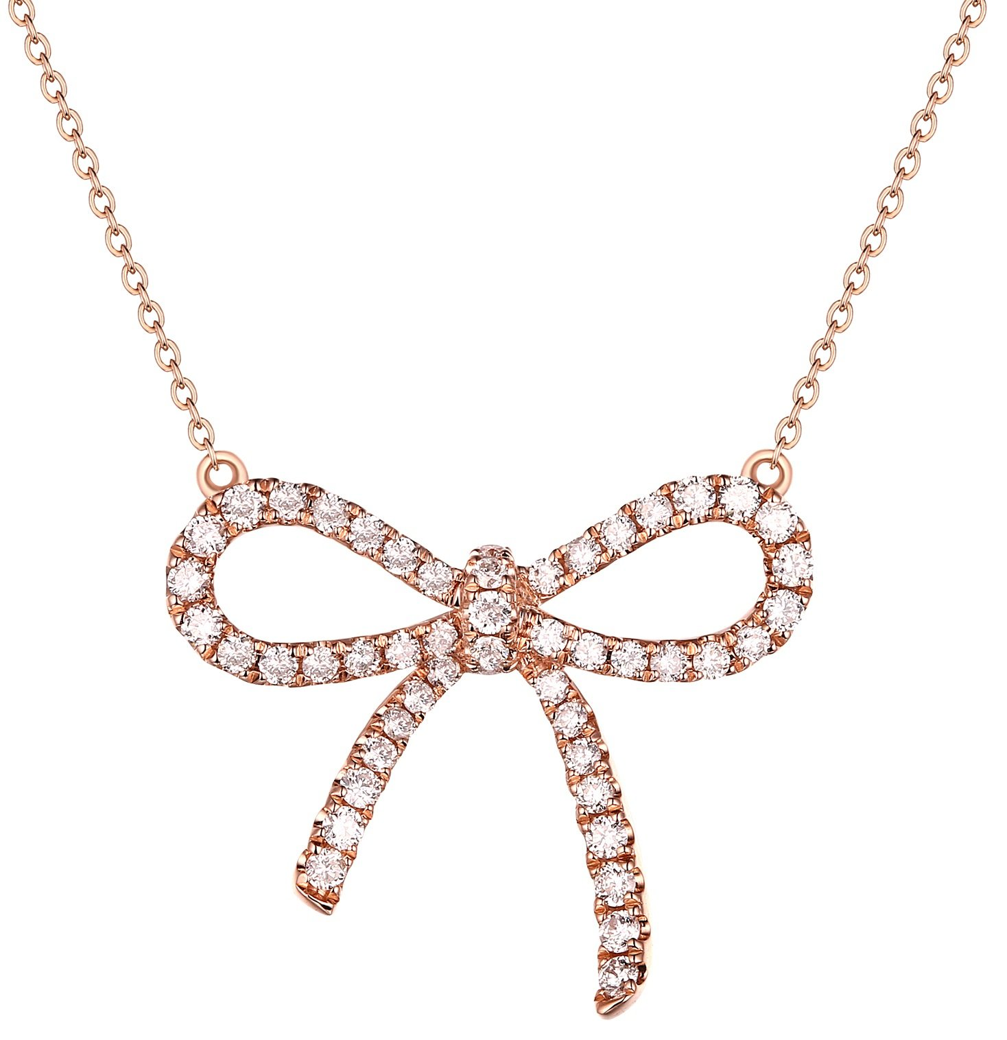 Prism Jewel 0.35 Carat Natural G-H/I2-I3 Diamond Bow Tie Style Necklace, 14k Rose Gold