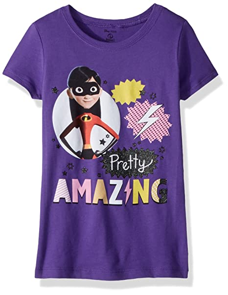 a45b65c3a645 Amazon.com: Disney Girls' The Incredibles 2 Violet Pretty Amazing Short  Sleeve T-Shirt: Clothing