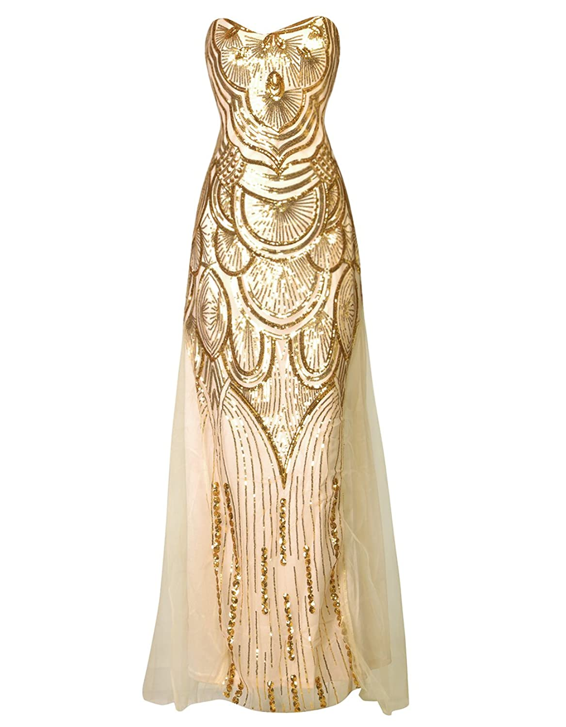 Amazon wedding dresses wedding gowns bridesmaid mother of oofit womens gold sequin strapless sweetheart mesh lace up banquet dress ombrellifo Choice Image