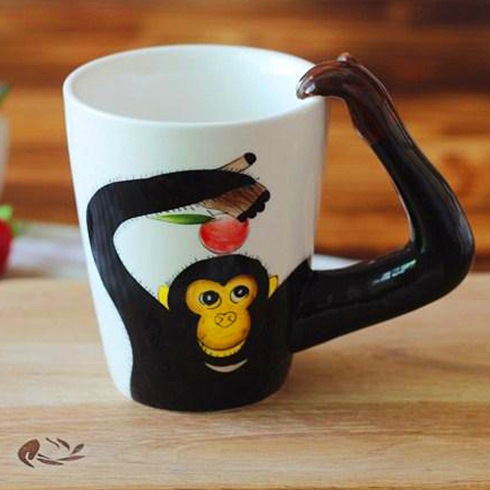 3D Coffee Mug Ceramics Cup With handle Painted Cat Animal (Monkey) by luckyse (Image #5)