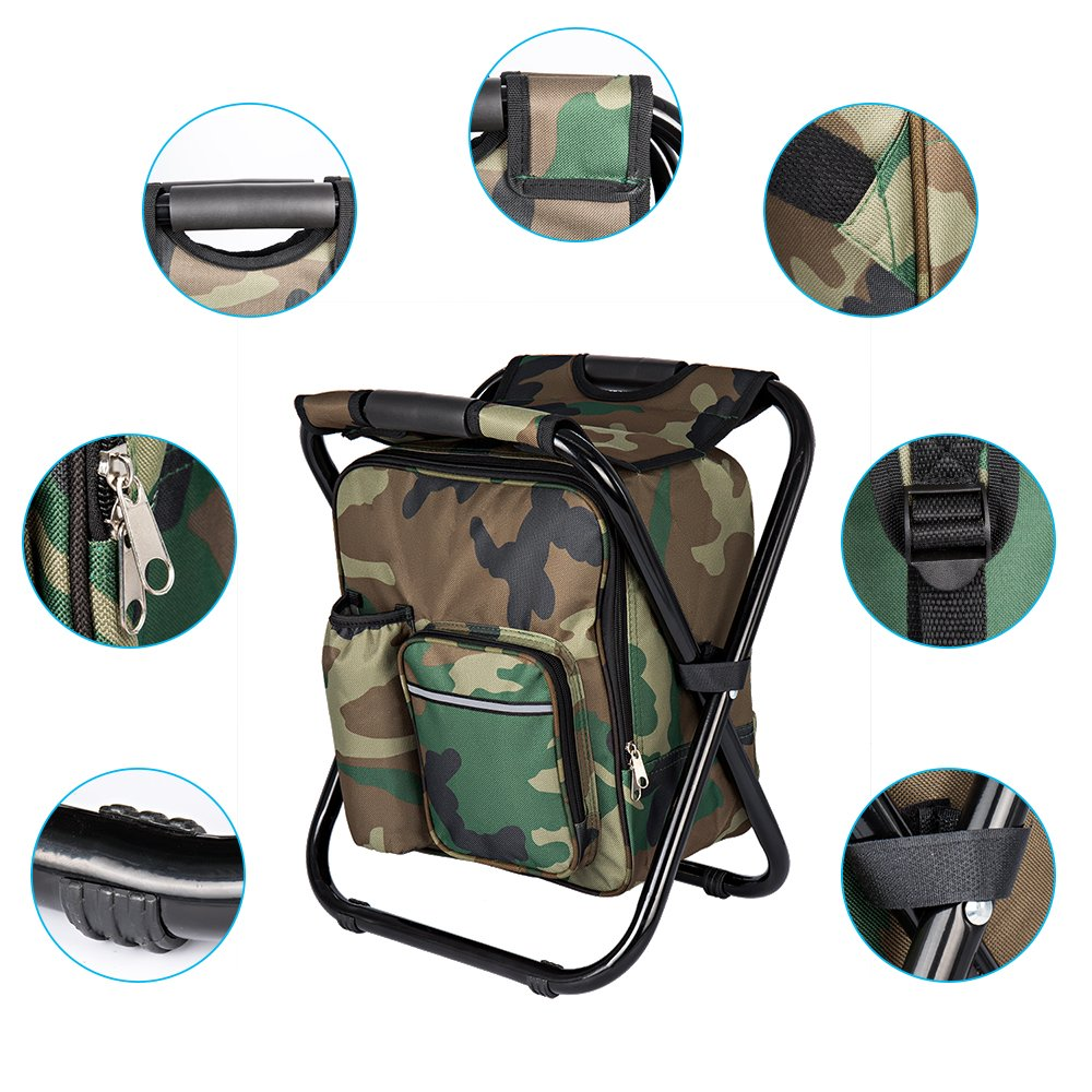 Bright starl Multifunction Folding Cooler and Stool Backpack Picnic Bag, Hiking Camouflage Seat Table Bag Camping Gear for Outdoor Indoor Fishing Travel Beach BBQ by Bright starl (Image #5)