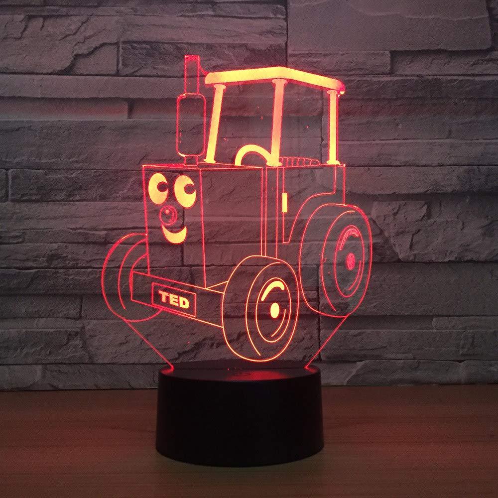 Lámpara 3D USB Tractor Regalos De La La La Novedad 7 Colores Que Cambian La Noche LED Car 3D LED Luces De Escritorio Decoración Del Hogar Lámpara De Mesa Regalo Para Los Niños c6cb59
