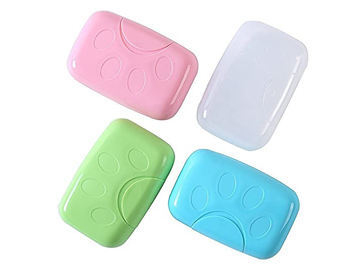 Efivs Arts Plastic Soap Case Holder, Bath Soap Box Container for Bathroom Shower Home Outdoor Hiking Camping Travel Set of 4
