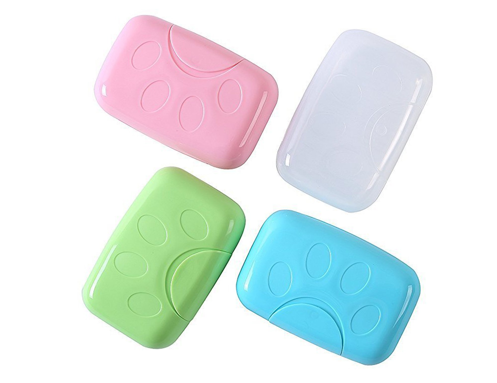 Efivs Arts Plastic Soap Case Holder Container Box Home Outdoor Hiking Camping Travel Set of 4