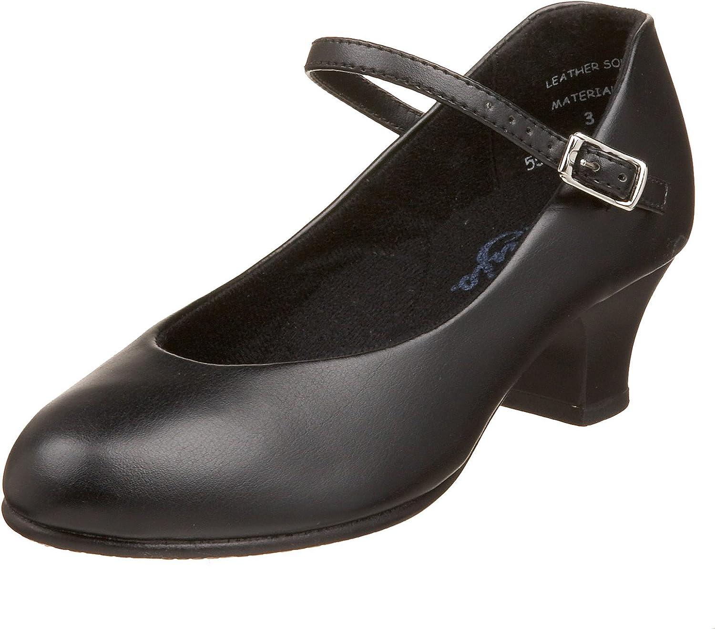 "Capezio 562 HeelFlex Character SHOES BLACK ballrooom shoes 1.5/"" T-strap $86"