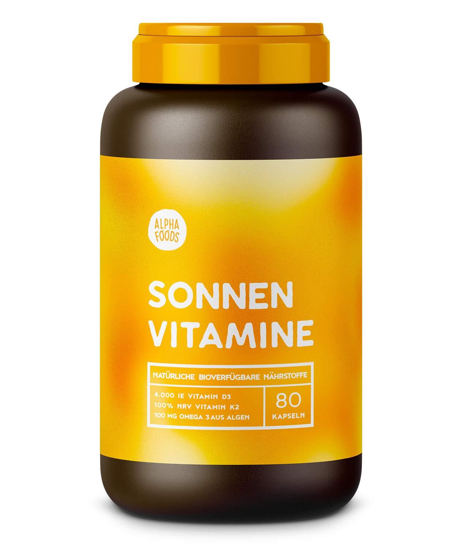 Vitamin D3, K2 und pflanzliche Omega 3 Fettsäuren | SONNENVITAMINE | Ohne Zusatzstoffe, ohne Hilfsstoffe | 80 Kapseln product image