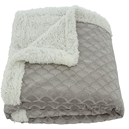 Image Unavailable. Image not available for. Color  Plazatex Mermaid  Microplush Sherpa Embroidered Throw 50 x 60 Gray de9dcd5d4