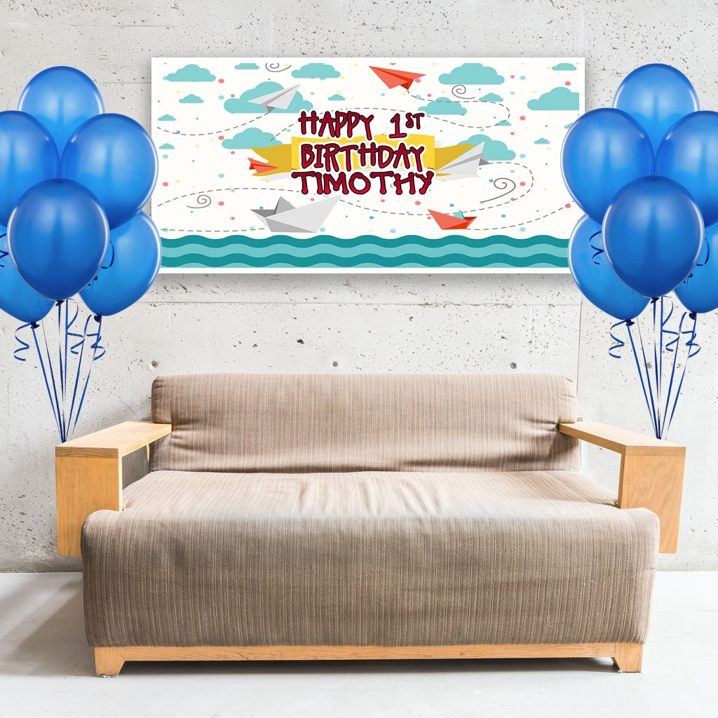 Sailing Skies First Birthday Banner Personalized Backdrop