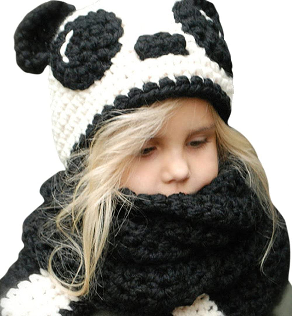 5f0a58b0fa4 Amazon.com  Spring Fever Kids Knitted Winter Hat Fox Cat Animal Hooded Coif  Oversize Warm Beanie Scarf Set Black White Panda One Size  Clothing
