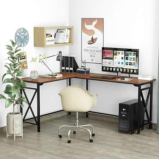L-Shaped Computer Desk 67\'\' x 51\'\' Walnut Corner Computer Desks 2-Piece  Corner Laptop Table Home Office Desk Desktop Computer Desks Workstation  Desk ...