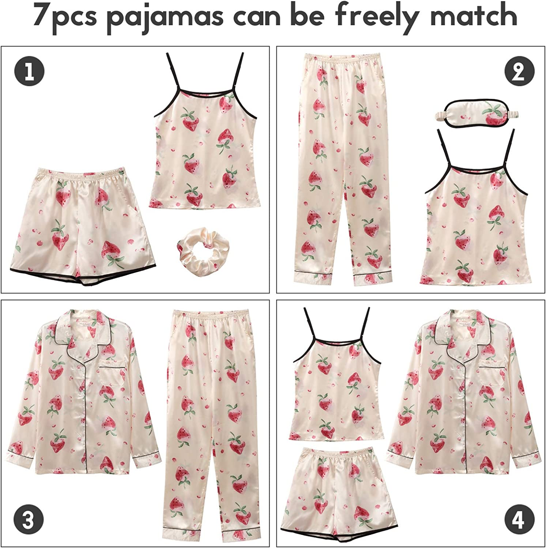 COCOHOME Pajamas Set for Women 7pcs Silk Satin Pajama Cami Shorts Sets Sleepwear Button Down Pjs Loungewear