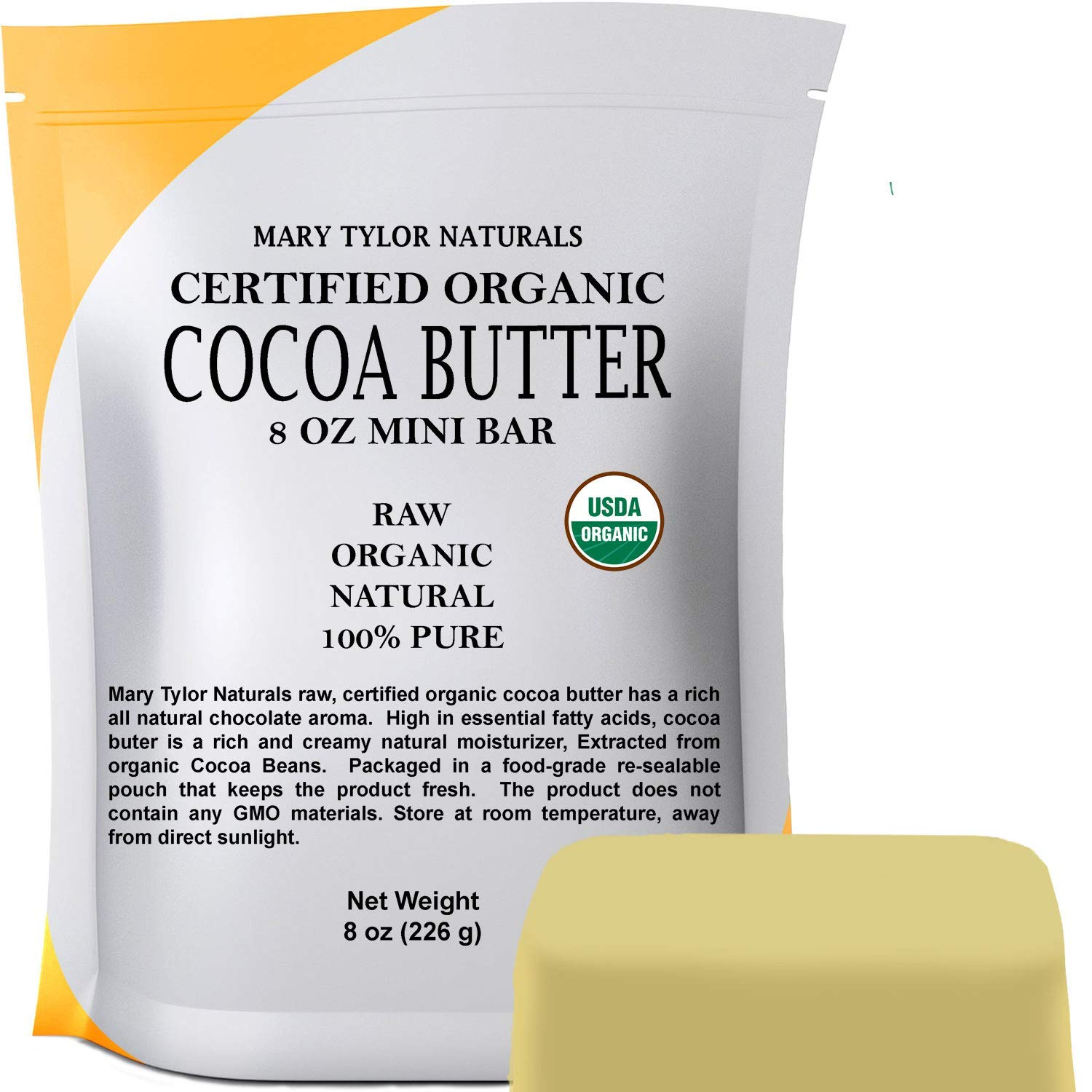 Organic Cocoa Butter (8 oz), USDA Certified by Mary Tylor Naturals Raw Unrefined, Non-Deodorized, Rich In Antioxidants, For DIY Recipes, Lip Balms, Lotions, Creams, Stretch Marks